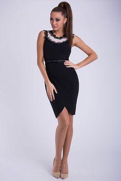 Black and White Lace Trim Dress - Little Black Dresses Johannesburg. Dress For Short Women, Short Dresses, Formal Dresses, Ruffle Jumpsuit, Perfect Wardrobe, Hot Dress, Beautiful Lingerie, Little Dresses, International Fashion