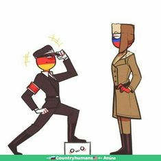 Germany in Nazi's cloth and Russia in Soviet's cloth *in fathers clothes* (awesome👌) Hetalia, Mundo Comic, Country Men, History Memes, Human Art, Funny Pictures, Random Pictures, Germany, Cartoon