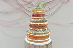 Naked wedding cake  Sweetonyoucakes.ca Photo by White Linen Photography Greenery by A New Leaf Floral Design