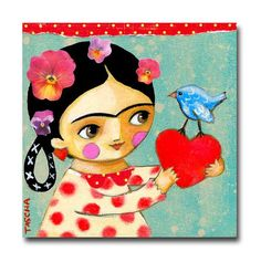 ORIGINAL Valentine Frida Kahlo pájaro azul de la felicidad la pintura del arte popular del Tascha