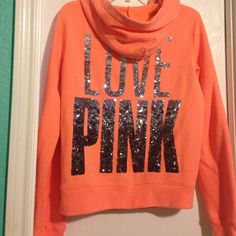 Rare VS Pink Fashion Show Orange Bling Hoodie zips Medium.  Neon Orange. Pants also available. Sold separately. Rare. HTF. Sold out. VS Fashion show inspired piece. EUC PINK Victoria's Secret Jackets & Coats
