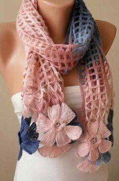 Unique Gifts for Woman Personalized Gift for Women Crochet Scarf Knit Scarf Gift Scarf for Her Girlfriend gift for her Mom Gift : Christmas Gift Pink Blue and Dark Blue Wool by SwedishShop Crochet Flower Scarf, Bead Crochet, Crochet Shawl, Crochet Flowers, Woven Scarves, Pink Scarves, Crochet Scarves, Crochet Clothes, Scarf Knit