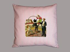Circus Performing Dogs Canvas Pillow Cover  Red by WhimsyFrills, $20.00