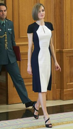 Queen Letizia of Spain in a chic black-and-white short-sleeve dress