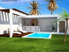 ProjetarCasas: Planta de Casas | Projeto de Edícula Gourmet - Cód 26