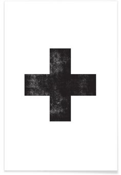 Swiss Cross White as Premium Poster by THE MOTIVATED TYPE | JUNIQE