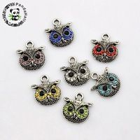 Vintage Antique Silver Plated Alloy Pave Rhinestone Owl Head Charms, Mixed Color, 17x16x4mm, Hole: 2mm