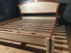 Items similar to Hardwood Notched timber bed frame and headboard on Etsy Timber Bed Frames, Timber Beds, Bed Frame And Headboard, Diy Bed Frame, Woodworking Furniture Plans, Bedroom Bed Design, Small Apartment Decorating, Bed Storage, Etsy