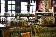 Voodoo shop in #NewOrleans. This is the area where they can make you a personalized gris gris bag for positive influences in your life.