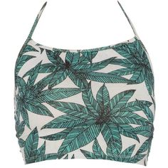 Fonda Halter Crop in Jungle Leaf Green by Motel ($26) ❤ liked on Polyvore featuring tops, halter neck crop top, palm tree top, green top, crop top and green necktie
