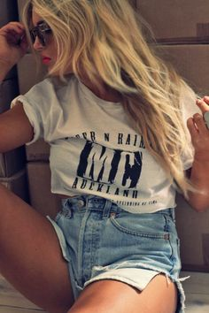 Cropped tee high waisted shorts