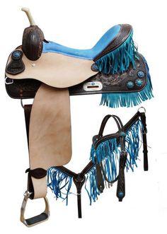 """16"""" Pink Double T fringe barrel saddle with crystal rhinestones conchos"""