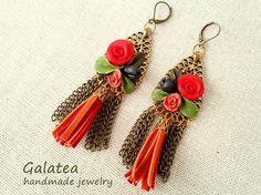 Long red earrings Floral earrings autumn by GalateaJewelry on Etsy