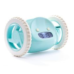 Aqua Clocky Alarm Clock - This quirky little clock will allow you to snooze, but if you don't get up, Clocky will jump, run, and hide until you do. Innovative and hip, Clocky is an alarm clock with attitude.