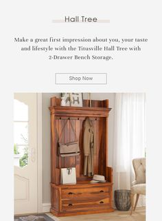 Make a great first impression about you, your taste and lifestyle with the Titusville Hall Tree with 2-Drawer Bench Storage. #halltree #entryway #solidwood #shoestorage #furniture #cornerentryway #cornerhalltree #homedecor #decor #interiordecor #interior #interiordesign #bench #benchwithstorage #hanginghalltree