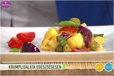 Készíts szuper finom, mediterrán krumplisalátát! Ez az egészséges krumplisalát zsíros-adalékanyagos bolti majonéz helyett olívaolajjal és finom fűszerekkel készült! Salad Dressing, Fruit Salad, Tofu, Potato Salad, Salads, Vegan Recipes, Potatoes, Ethnic Recipes, Dressings