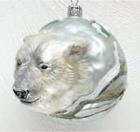 Christinas World Polar Bear Figural Polish Mouth Blown Glass Christmas Ornament