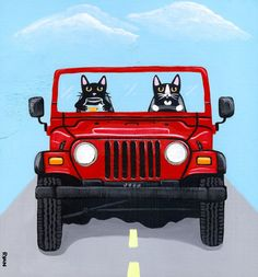 Jeep Road Trip Cats Original Cat Folk Art by KilkennycatArt, Had to pin this since our Sweetie baby was found at the Jeep factory in the new construction area now known as Toledo North Assembly Complex , and looks just like the driver! Crazy Cat Lady, Crazy Cats, Frida Art, Animal Society, Sleepy Cat, Cat Cards, Dog Signs, Cat Drawing, Drawing Ideas