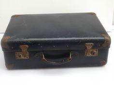 Vintage Blue Riveted Weekend Suitcase with Corner Protectors & Leather Handle