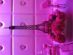 Eiffel Tower floral arrangement by Butterfly Floral Design in Los Angeles. French bridal shower, Paris theme.