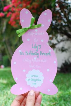 Easter Bunny Birthday Invitation or Easter by palmbeachpolkadots, $2.25