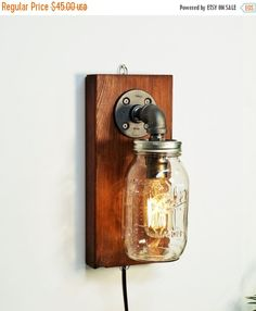 SALE 20% OFF Industrial sconce light lamp-Mason wall light lamp-Steampunk wall light lamp-Edison bulb sconce-Bedside wall lamp-Rustic modern by CleverFoxLighting on Etsy https://www.etsy.com/ca/listing/288972345/sale-20-off-industrial-sconce-light-lamp