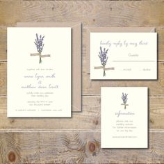 Lavendar Wedding Invitations Lavendar by SweetBellaStationery