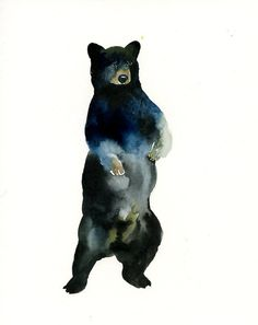BLACK BEAR Original watercolor painting... Maybe with tree branch or root extension?