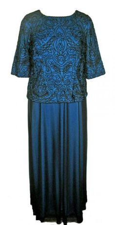Alex Evening Sapphire Black Soutache Evening Dress