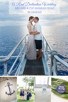 Gorgeous catamaran wedding in Hawaii with tons of gorgeous nautical wedding details. Maui Weddings, Hawaii Wedding, Wedding Tips, Wedding Details, Wedding Sunglasses, Marry Your Best Friend, Destination Wedding Locations, Hawaiian Islands, Nautical Wedding