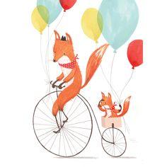 Paseando en bicicleta padre e hijo. Foxes