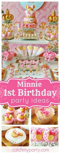 This gold & pink Minnie 1st Birthday is gorgeous!! The vintage dessert table is amazing!! See more party ideas and share yours at CatchMyParty.com