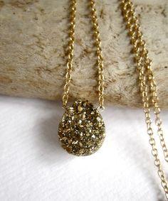 Gold Druzy Quartz Necklace Titanium Drusy 14K Gold Fill Chain. $64.00, via Etsy.