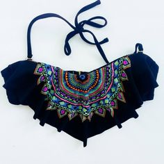 Xhilaration Flowy Bikini Top Black patterned flowy swim top. Detachable straps. Worn once. In like new condition! Will keep for this summer if it doesn't sell soon! ;) Xhilaration Swim Bikinis