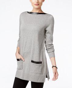 Jeanne Pierre Faux-Leather Trim Tunic Sweater
