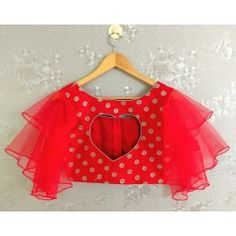 Magil ready to wear heart shaped blouse with ruffled sleeves Frill Kalamkari Blouse Designs, Netted Blouse Designs, Kids Blouse Designs, Blouse Back Neck Designs, Bridal Blouse Designs, Stylish Blouse Design, Designer Blouse Patterns, Crop Tops, Trends