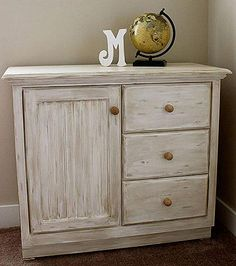 Time-Worn, On-Trend Dresser -- Dry-brushing contrasting colors creates a time-worn look.