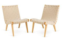 """Risom Chairs, Pair on OKL  ($1,399.00  v. $2,000.00 retail) (+ $200 with """"white glove"""" fees)  Ginny Magher Risom Chairs, Pair  Condition: Vintage, antique, or gently used  Made of: cotton/walnut  Dimensions: 24''L x 20''W x 30''H; seat, 15""""H  Color/finish: beige/brown  """"Pair of Jens Risom for Knoll walnut side chairs with woven cotton webbing.""""  """"Fueled by her passion for all things French, Ginny Magher has had a highly successful Atlanta-based interior design business for more than 26…"""