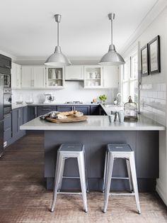 laminex industrial look kitchen dark wooden floors - Google Search