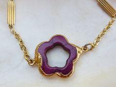 Magenta flower stone bracelet by PanachebyAmanda on Etsy, $25.20