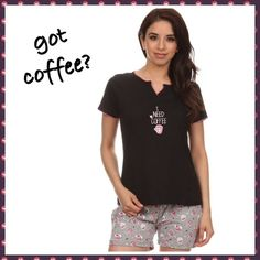 "GOT COFFEE PAJAMAS Black v neck top trimmed with hot pink stitching around neck and sleeves. Short hemmed sleeves, and inside back panel matches the coffee cup bottoms. ""I NEED COFFEE"" is stitched on front with a mug of coffee; not stamped. 100% soft cotton.   Drawstring shorts for bottoms in gray, with hot pink and pale pink coffee mugs and black and white hearts, and a hemmed finish. 90/10 cotton/poly. Great splurge for yourself, or a great gift for your PFF.   Sizes S (2/4) M(6/8) L…"