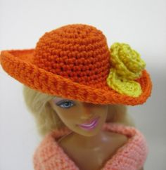 3ff368476c1 Barbie doll hat orange handmade crochet with yellow rose