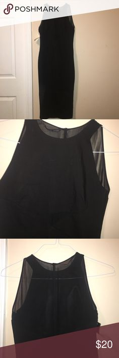 Zara midi dress Great midi dress for a cocktail party. Form fitting and has size zipper closure. Front has a small sheer piece and the back is sheer as well. NWT in size xs Zara Dresses Midi