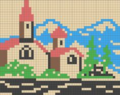 Church in front of mountains scene chart for cross stitch, knitting, knotting, beading, weaving, pixel art, and other crafting projects.