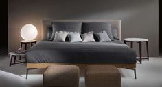flexform feelgood bed 100H headboard removable fabric or leather head and 30 H foot, wooden panel on metal base