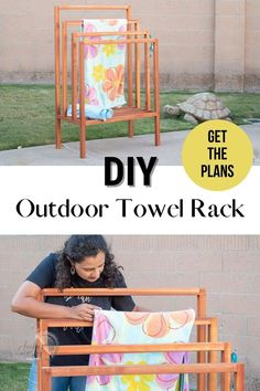 Learn how to build this easy DIY outdoor towel rack. It is a quick project with detailed tutorial, plans, and videos. It looks great too! #woodworking #outdoor #AnikasDIYLife Scrap Wood Projects, Woodworking Projects That Sell, Woodworking Plans, Diy Projects, Project Ideas, Colorful Furniture, Diy Furniture, Wood Working For Beginners, Easy Home Decor