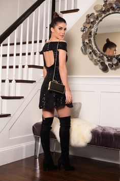 camila coelho little black dress sequin party holiday look