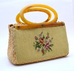 Vintage Straw Handbag with Needlepoint Panel, Natural Color, Butterscotch Plastic Handles, circa 1950s by UpswingVintage on Etsy