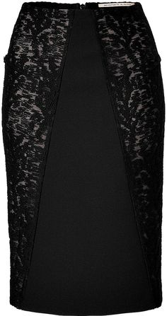 Roland Mouret Nomada Pencil Skirt with Lace Panels