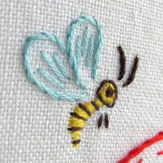 bee embroidery detail by Joey's Dream Garden, via Flickr
